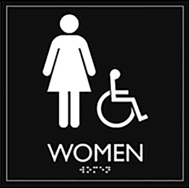 Image for Lorell Restroom Sign, Accessible, 8 x 8 x 0.6 Inches, Black, Each from School Specialty