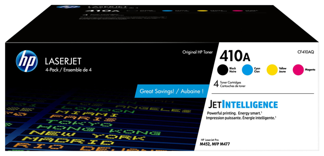 Image for HP 410A (CF410AQ) Toner Cartridge, 2300 Page Yield, Black & Tri-Color from School Specialty