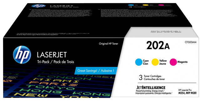 Image for HP 202A (CF500AM) Toner Cartridge, 1300 Page Yield, Tri-Color from School Specialty