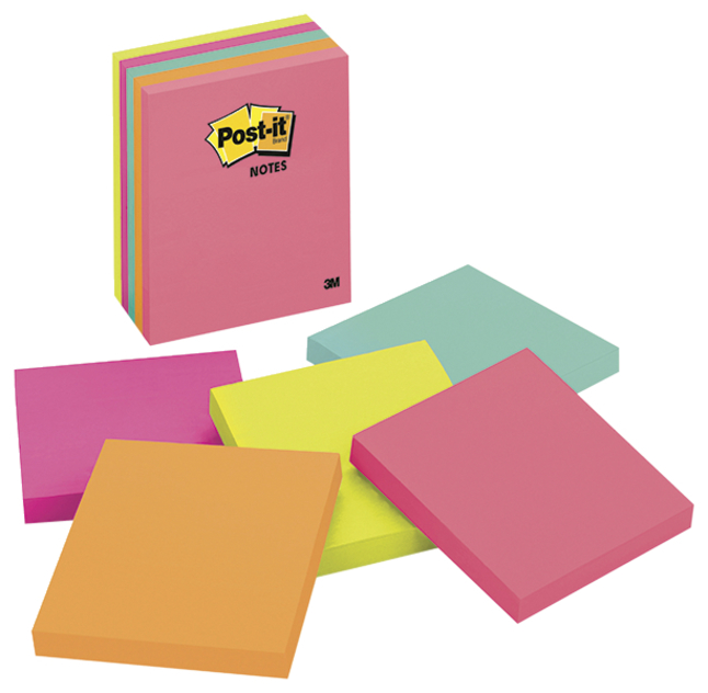 Image for Post-it 4 Inch Notes, Multicolor, 100 Sheets, Pack of 5 from School Specialty