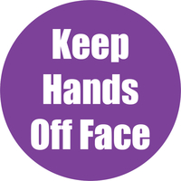 Image for Healty Habits Floor Stickers, Keep Hands Off Face, 5 Pack, Purple, Non-Slip from School Specialty