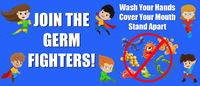 Image for Healthy Habits Wall Stickers, Join The Germ Fighters, 5 Pack from School Specialty