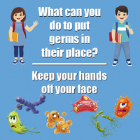 Image for Healthy Habits Floor Stickers, What Can You Do To Put Germs In Their Place, Keep Hands Off Your Face, 5 Pack, Non-Slip from School Specialty