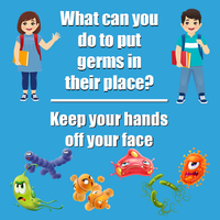 Image for Healthy Habits Wall Stickers, What Can You Do To Put Germs In Their Place, Keep Hands Off Your Face, 5 Pack from SSIB2BStore