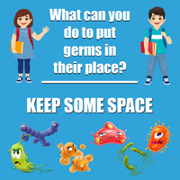 Image for Healthy Habits Wall Stickers, What Can You Do To Put Germs In Their Place, Keep Some Space, 5 Pack from School Specialty
