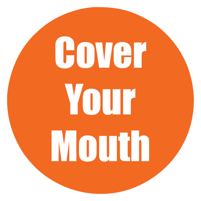 Image for Healthy Habits Floor Stickers, Cover Your Mouth, 5 Pack, Orange, Non-Slip from School Specialty