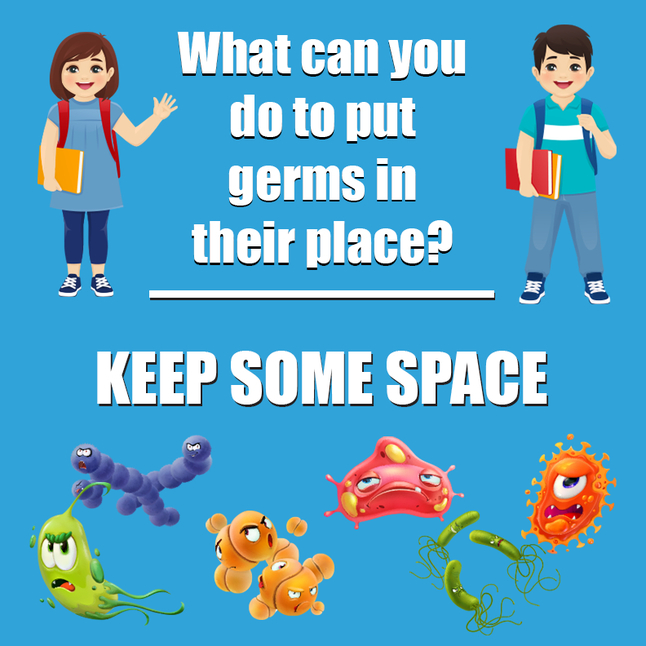 Image for Healthy Habits Floor Stickers, What Can You Do To Put Germs In Their Place, Keep Some Space, 5 Pack, Non-Slip from School Specialty