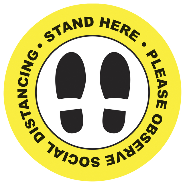 """Image for Social Distancing Floor Sticker, Stand Here, 20 x 20"""" Circle - Yellow, Pack of 5 from School Specialty"""