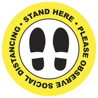 """Image for Social Distancing Floor Sticker, Stand Here, 10 x 10"""" Circle - Yellow, Pack of 5 from SSIB2BStore"""