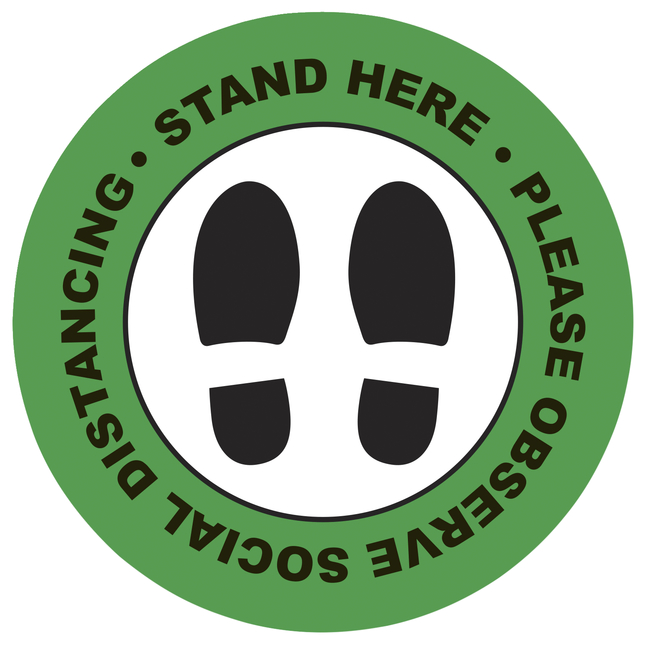 "Image for Social Distancing Floor Sticker, Stand Here, 20 x 20"" Circle - Green, Pack of 5 from School Specialty"