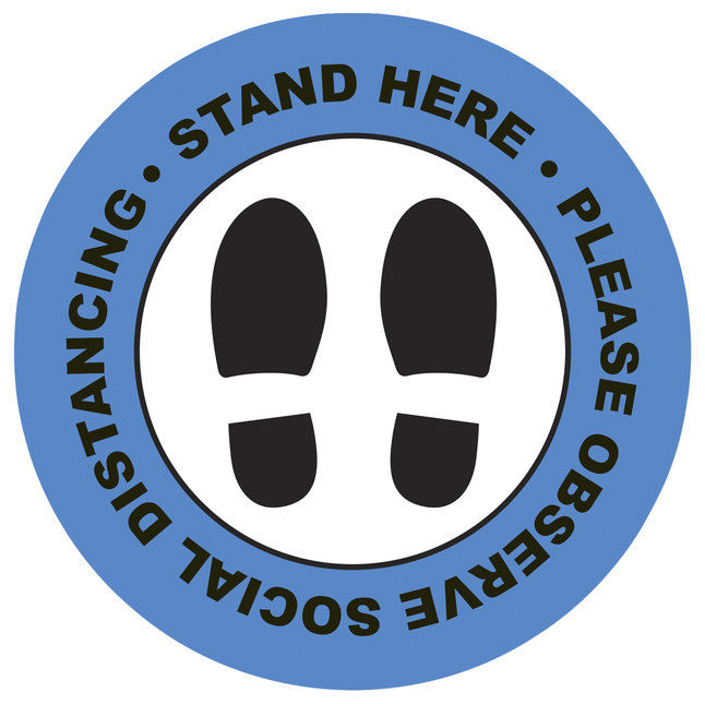 """Image for Social Distancing Floor Sticker, Stand Here, 10 x 10"""" Circle - Blue, Pack of 5 from School Specialty"""