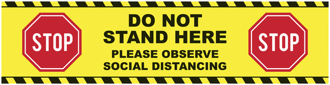Image for Social Distancing Floor Sticker, Do Not Stand Here, 48 x 12 Rectangle, Pack of 5 from School Specialty