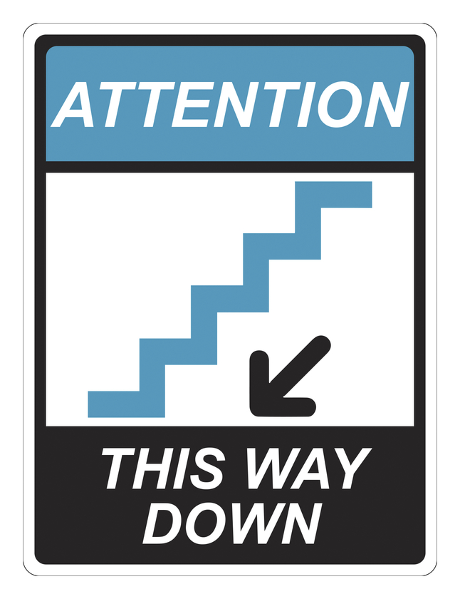 Image for Critical Communication Sign, Stairs This Way Down, Pack of 5 from School Specialty