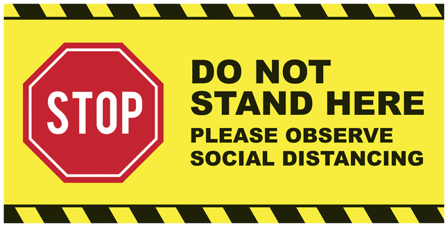 Image for Social Distancing Floor Sticker, Do Not Stand Here, 24 x 12 Rectangle, Pack of 5 from School Specialty