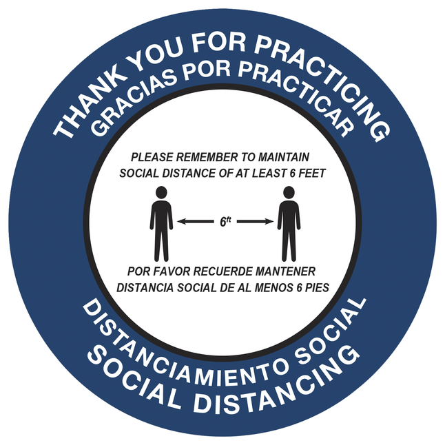 "Image for Social Distancing Floor Sticker, Stand Here, 20 x 20"" Circle - English and Spanish, Pack of 5 from School Specialty"