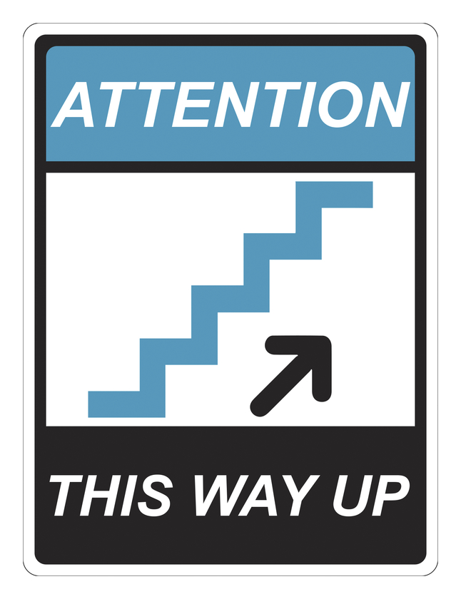 Image for Critical Communication Sign, Stairs This Way Up, Pack of 5 from School Specialty