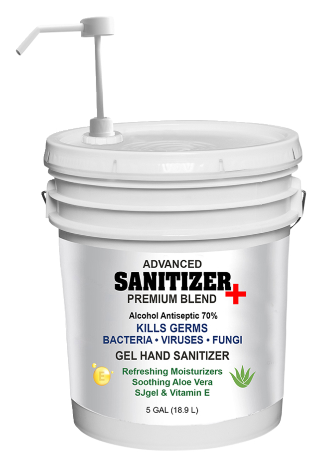 Image for Sanitizer Plus Hand Sanitizer Gel, with pump, 5 Gallon/640 ounces, 70% alcohol from School Specialty