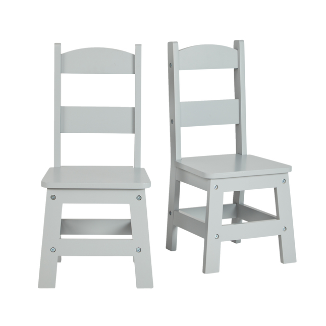 Image for Melissa & Doug Wooden Chairs, 11 Inches, Gray, Set of 2 from School Specialty
