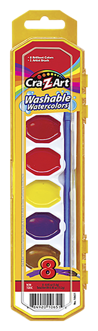 Image for 8ct Washable Watercolors w/ Brush, peggable tray from School Specialty