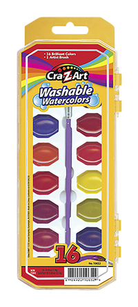 Image for 16ct Washable Watercolors w/ Brush, peggable tray from School Specialty