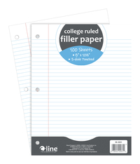 Image for C-Line 3-Hole Punched Filler Paper, 8 x 10-1/2 Inches, College Ruled, 100 Sheets from School Specialty