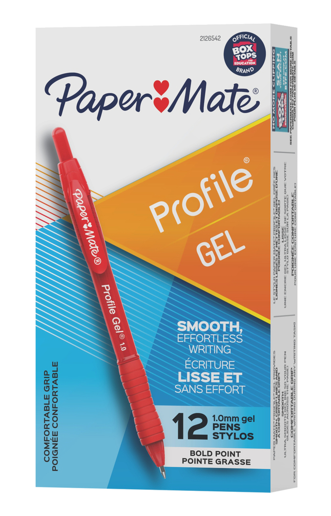 Image for Paper Mate Profile Retractable Gel Pen, 1.0 mm, Red Ink, Pack of 12 from School Specialty