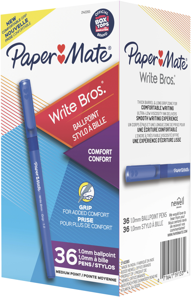 Image for Paper Mate Write Bros. Grip Ballpoint Pen, 1.0 mm, Blue Ink, Pack of 36 from School Specialty