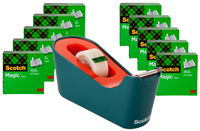 Image for Scotch Classic Tape Dispenser with 10 Rolls of Tape, Sea Green/Coral from School Specialty