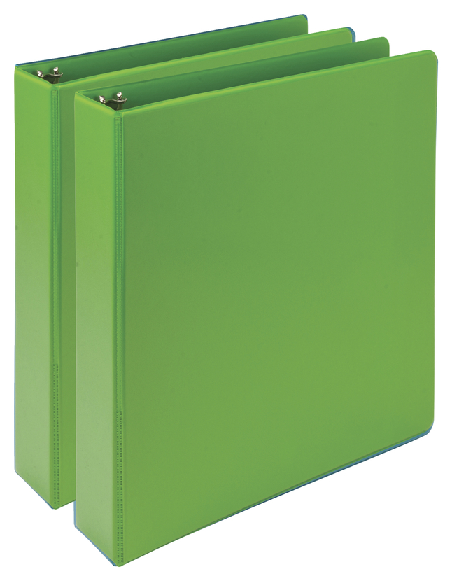 Image for Samsill Earth's Choice Durable Fashion Color 3 Ring View Binder , 1-1/2 Inch Round Ring, Lime, Pack of 2 from School Specialty