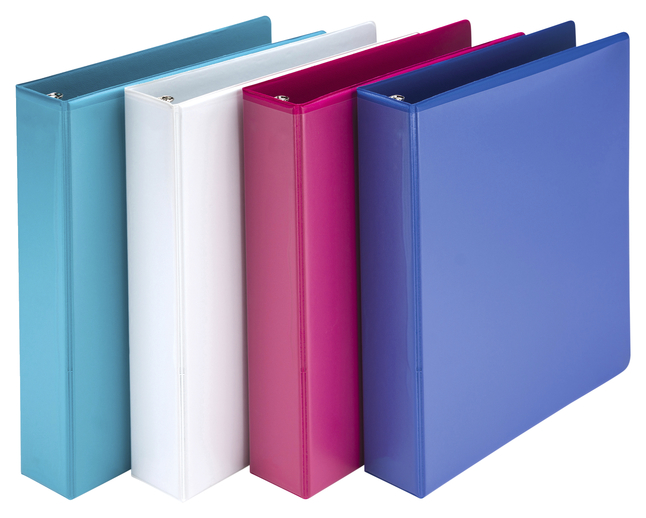 Image for Samsill Economy 3 Ring View Binder with Customizable Clear View Cover, 1-1/2 Inch Round Ring, Assorted Colors, Pack of 4 from School Specialty