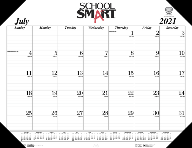 Image for School Smart Desk Pad Calendar, 14 Months, July 2021 to August 2022 from SSIB2BStore