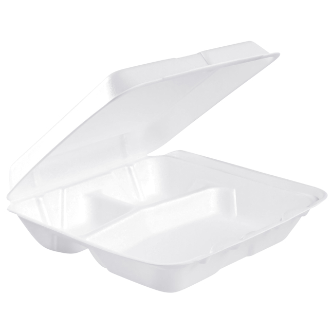 Image for Dart Insulated Food Service Container, 3 Compartments, Polystyrene, Pack of 200 from School Specialty