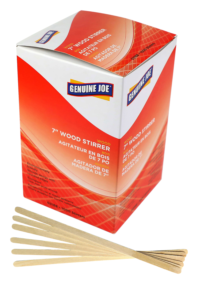 Image for Genuine Joe Wooden Stirrers, 7 Inches, Box of 1000 from School Specialty