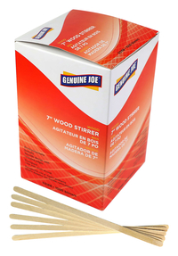 Image for Genuine Joe Wooden Stirrers, 7 Inches, Box of 1000 from SSIB2BStore