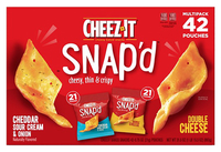 Image for Cheez-It Snap'd Baked Cheese Variety Pack, Assorted, 1.97 lb, Carton of 42 from School Specialty