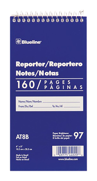 Image for Blueline Reporter Notebook, 160 Sheets, Spiral, 4 Inches x 8 Inches, White Cover from School Specialty