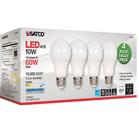Image for Satco 10 Watt A19 LED 5000K Light Bulbs, Pack of 4 from School Specialty