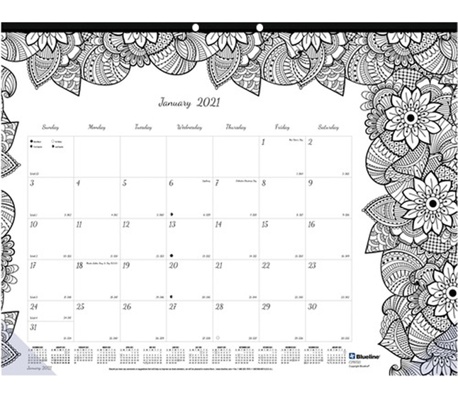 Image for Blueline Botanica Design Compact Monthly Desk Pad from School Specialty