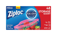 Image for Ziploc Quart Storage Seal Top Bags, Box of 48 from School Specialty