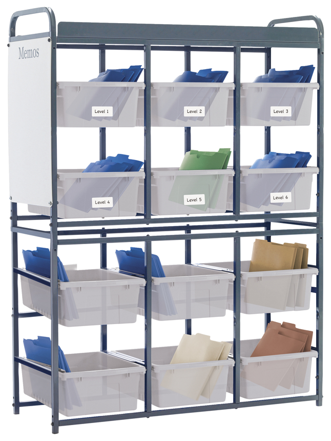 Image for Copernicus Lesson Storage Organizer with 12 Open Tubs, 41-1/2 x 15 x 57 Inches, Translucent from School Specialty