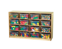 Childcraft Cubby Unit, 16 Clear Trays, 47-3/4 x 13 x 30 Inches Item Number 206052