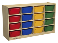 Childcraft Cubby Unit, 16 Assorted Color Trays, 47-3/4 x 13 x 30 Inches Item Number 206056