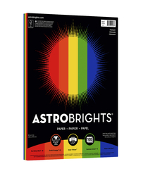 Image for Astrobrights Colored Paper, 24 lb, 8-1/2 x 11 Inches, Primary 5-Color Assortment, 100 Sheets from School Specialty