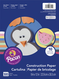 Pacon Lightweight Construction Paper, 9 x 12 Inch, 50 lb, Assorted Colors, Pack of 500 Item Number 216692
