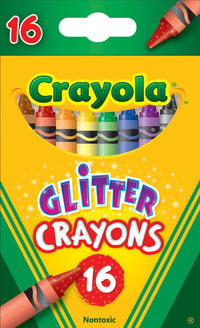 Crayola Non-Toxic Regular Glitter Crayon, 3-5/8x 5/16 in, Assorted Color, Set of 16 Item Number 220566