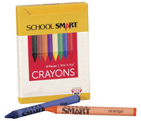 School Smart Crayons in Tuck Box, 5/16 x 3-1/2 in, Assorted Colors, Pack of 8 Item Number 245948