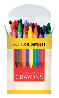 School Smart Non-Toxic Regular Crayon in Tuck Box, 5/16 X 3-1/2 in, Assorted Color, Pack of 24 Item Number 245950