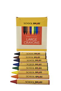 School Smart Large Crayons in Tuck Box, Assorted Colors, Pack of 8 Item Number 245951