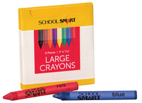 School Smart Large Non-Toxic Crayon in Tuck Box, 4 L x 7/16 W in, Assorted Colors, Pack of 8 Item Number 245951