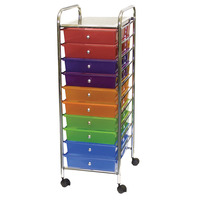 Mobile Organizer, 10 Drawers, 13 x 38 x 15-1/4 Inches, Multiple Colors Item Number 333887